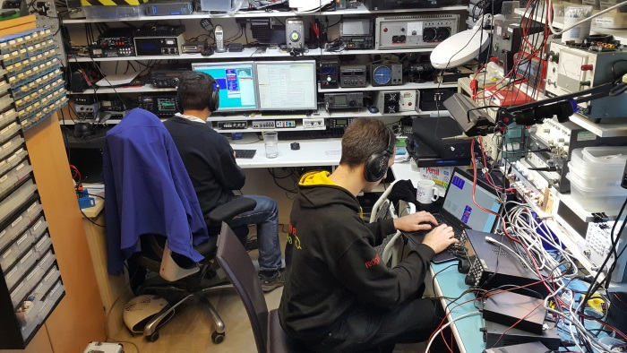M0VFC and M0BLF operating in AFS Phone in M1BXF's shack